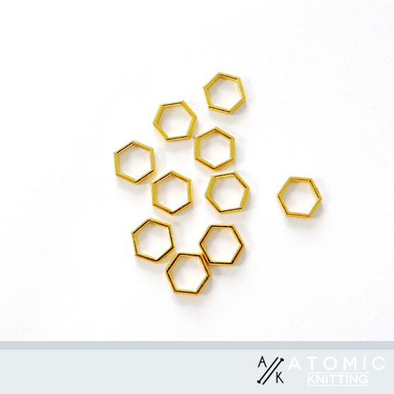 Atomic Knitting 7mm Solid Hexagonal Stitch Markers - Gold