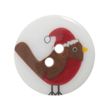 Trimits Christmas Printed Button - Robin in Hat, size 23mm