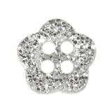 Trimits Silver Glitter Flower Button, 9mm