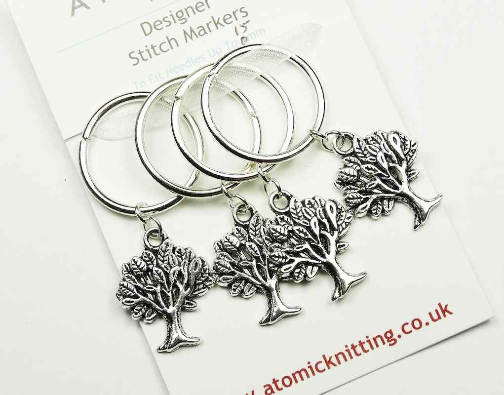 Atomic Knitting 15mm Metal Charm Stitch Markers - Trees