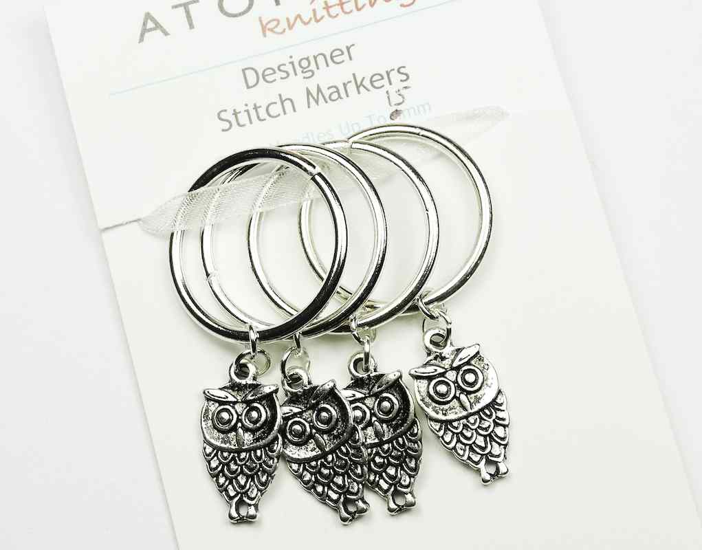 Atomic Knitting 15mm Metal Charm Stitch Markers - Owls (flat)