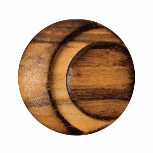 Round Wooden Carved Button, size 23mm
