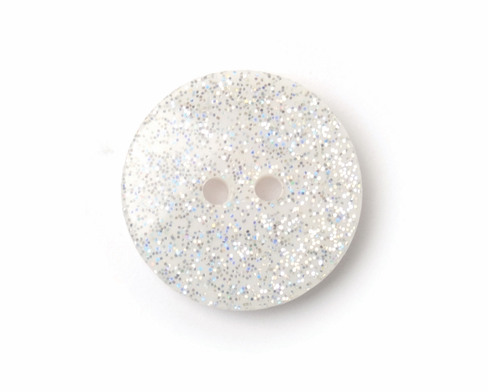 ABC Loose Buttons White Glitter 18mm