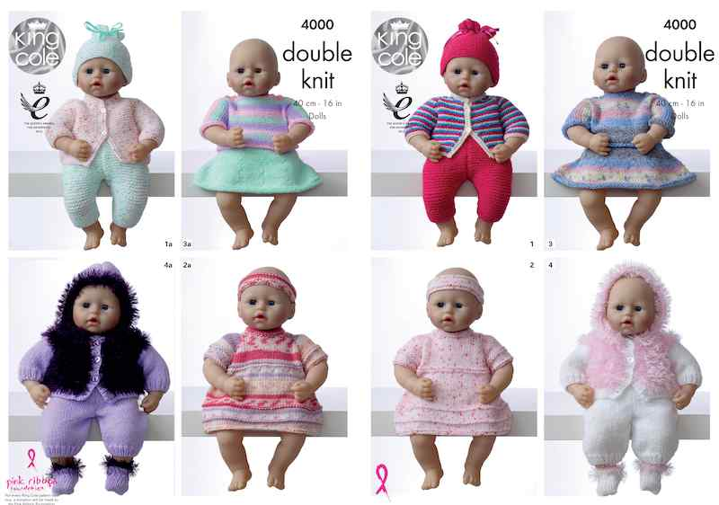 King Cole Pattern No. 4000 Dolls Clothes (DK)