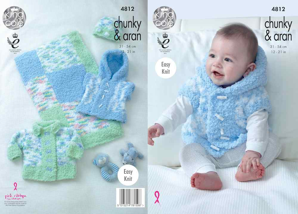 King Cole Pattern No. 4812 Jacket, Gilet, Hat & Blanket (Chunky)