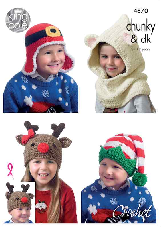 King Cole Pattern No. 4870 Crochet Kid's Novelty Hats