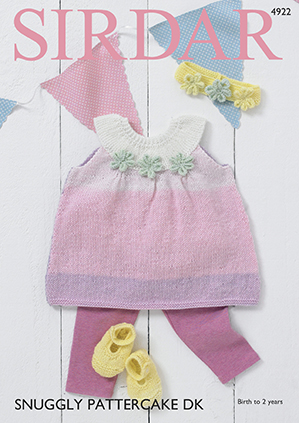 Sirdar Snuggly Pattercake 4922 Pinafore Dress, Shoes & Head Band
