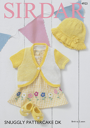 Sirdar Snuggly Pattercake 4923 Baby Girl Bolero, Sunhat & Shoes