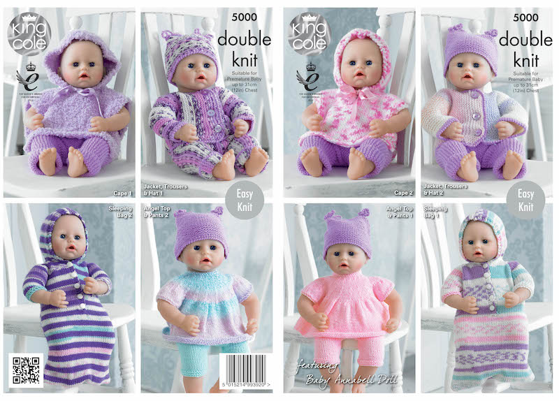 King Cole Pattern No. 5000 Dolls Clothes (DK & Chunky)