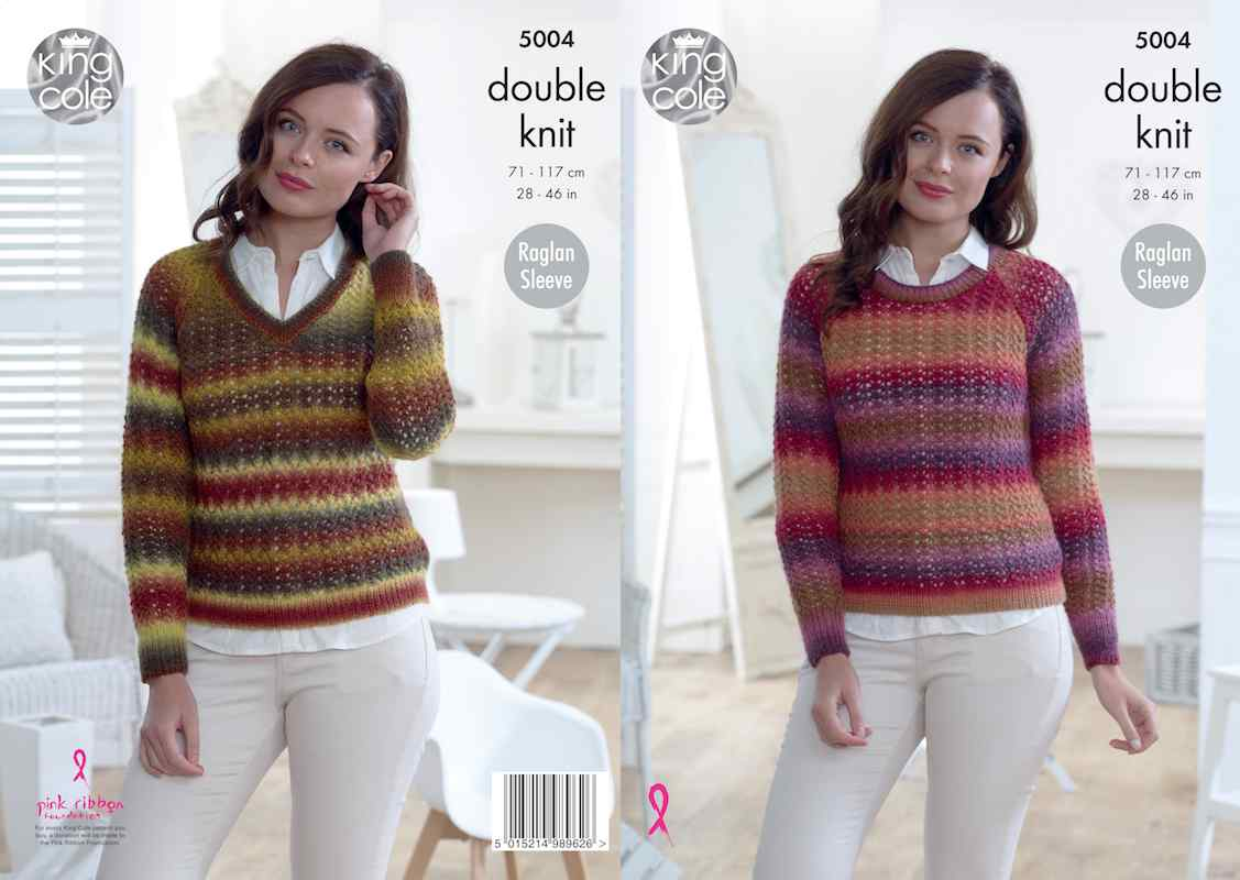 King Cole Pattern No. 5004 Round & V Neck Sweaters (DK)