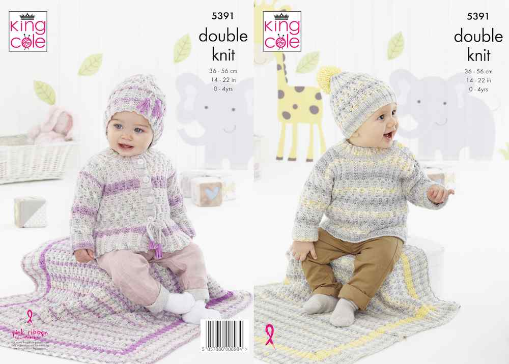 King Cole Pattern No. 5391 Sweater, Cardigan, Hats & Blanket