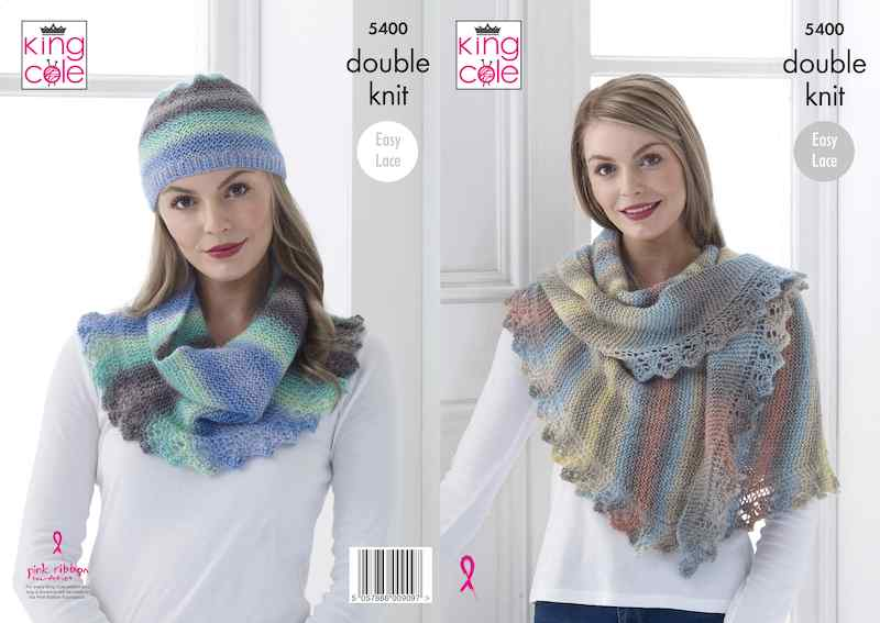King Cole Pattern No. 5400 Shawl, Cowl & Hat (DK)