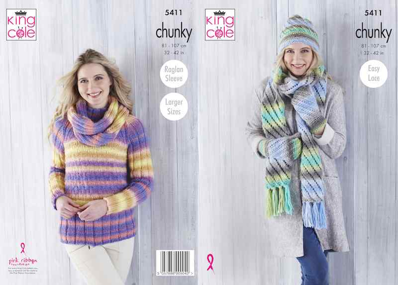 King Cole Pattern No. 5411 Sweater, Cowl, Hat, Scarf & Mittens
