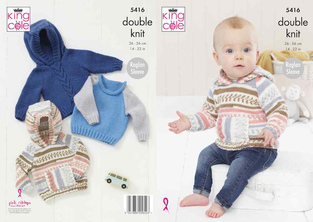 King Cole Pattern No. 5416 Babies Raglan Sweaters