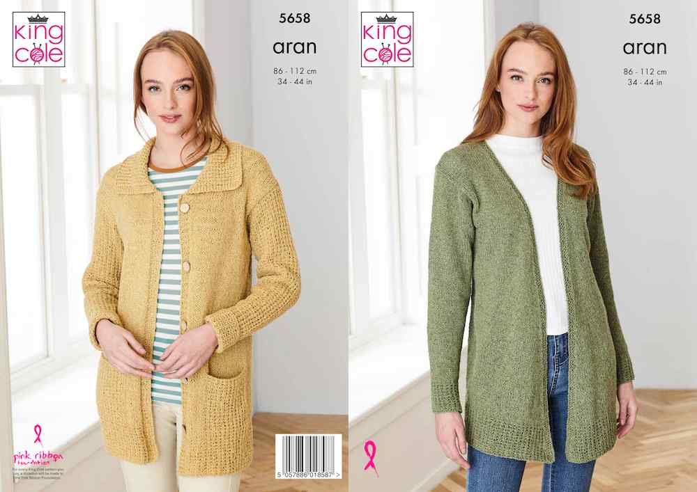 King Cole Forest Aran Pattern 5658 Cardigans