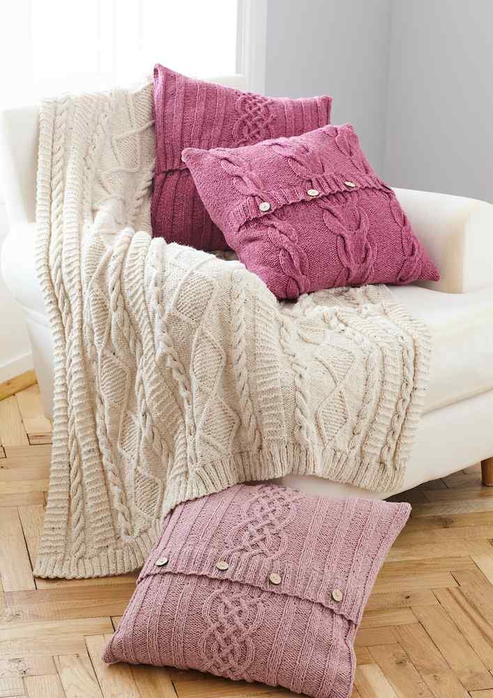 King Cole Forest Aran Pattern 5660 Throw & Cushion Covers