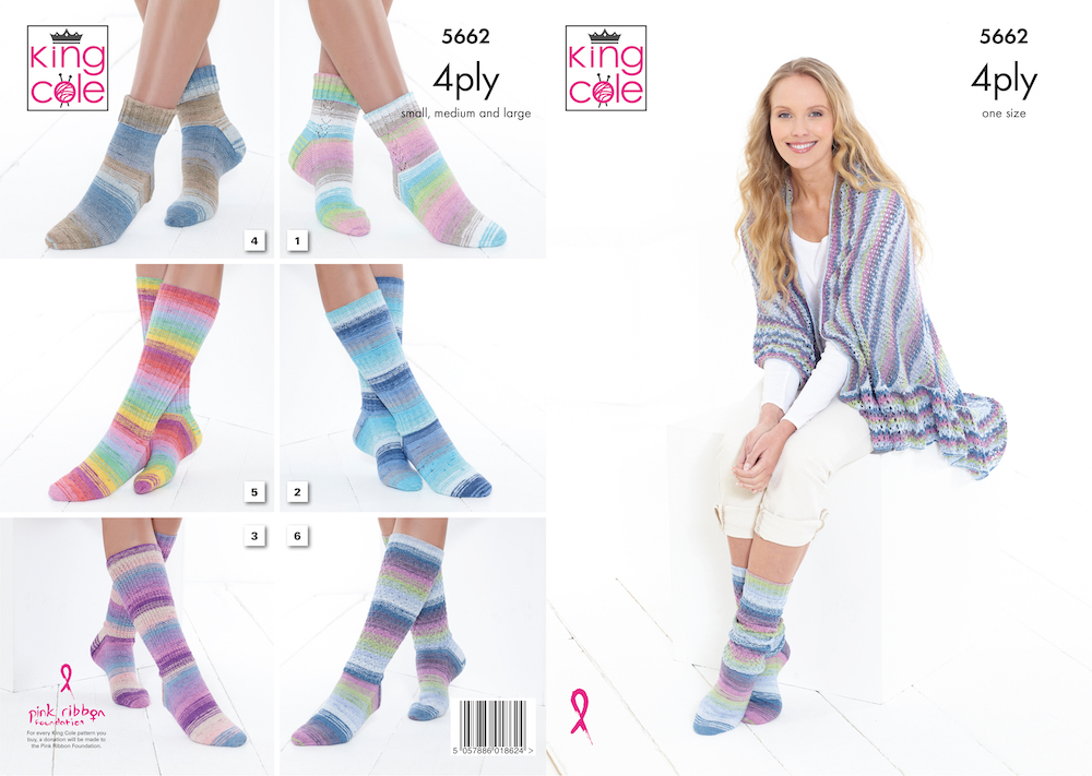 King Cole Summer 4ply Pattern 5662 Socks & Triangular Wrap