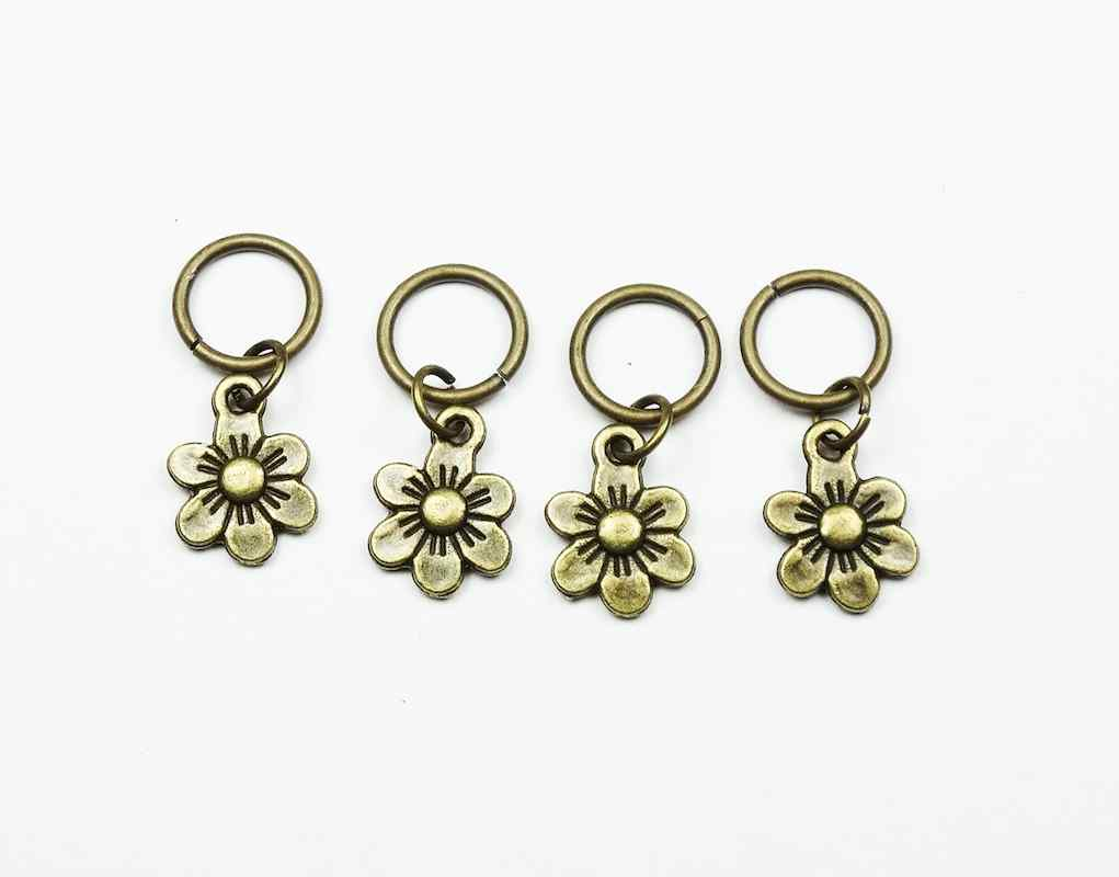 Atomic Knitting 7mm Metal Charm Stitch Markers - Brass Flowers