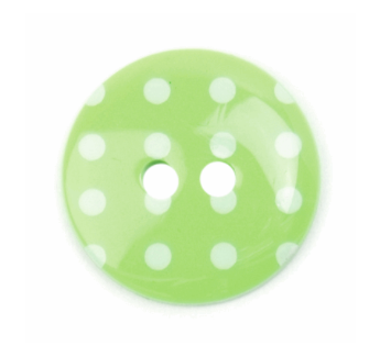 ABC Loose Buttons Green with White Spot 18mm - Click Image to Close