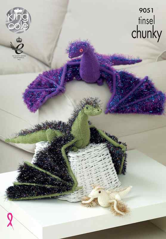 King Cole Pattern No. 9051 Dragons in Tinsel Chunky