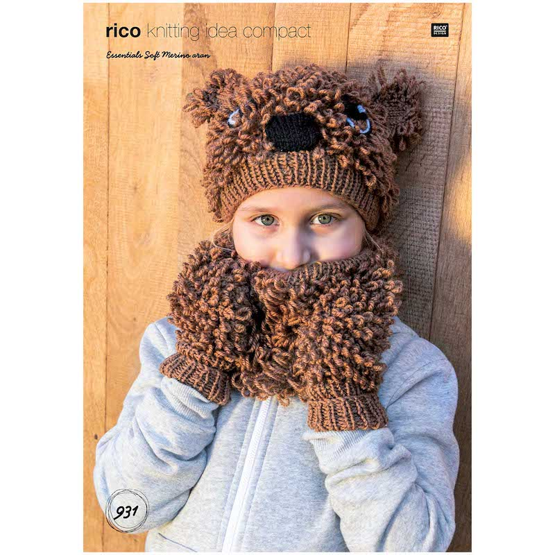 Rico Essentials Soft Merino Aran 931 Animal Hat, Loop & Mittens