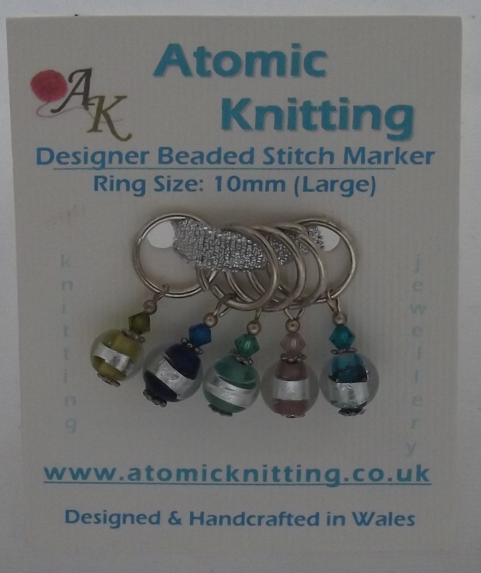 Atomic Knitting 10mm Indian Glass Bead Stitch Markers