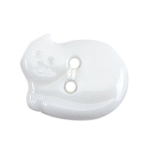 Milward Buttons - White Cat, size 17mm