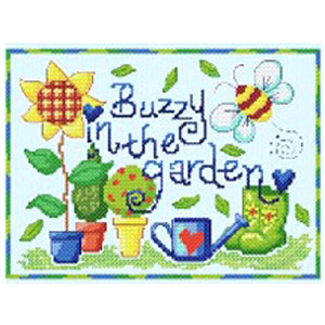 Cinnamon Cat, Buzzy in the Garden cross stitch kit
