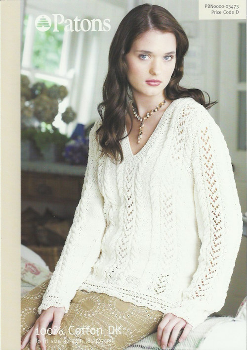 Patons 03473 Ladies Lace and Cable Sweater