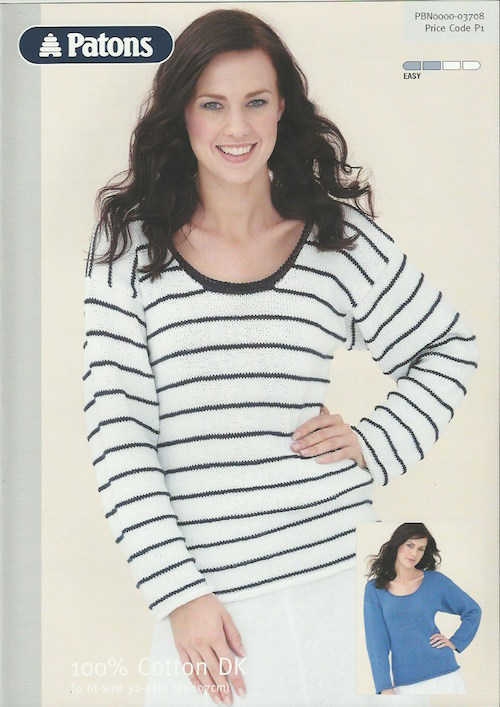 Patons 03708 Ladies Round Neck Sweater