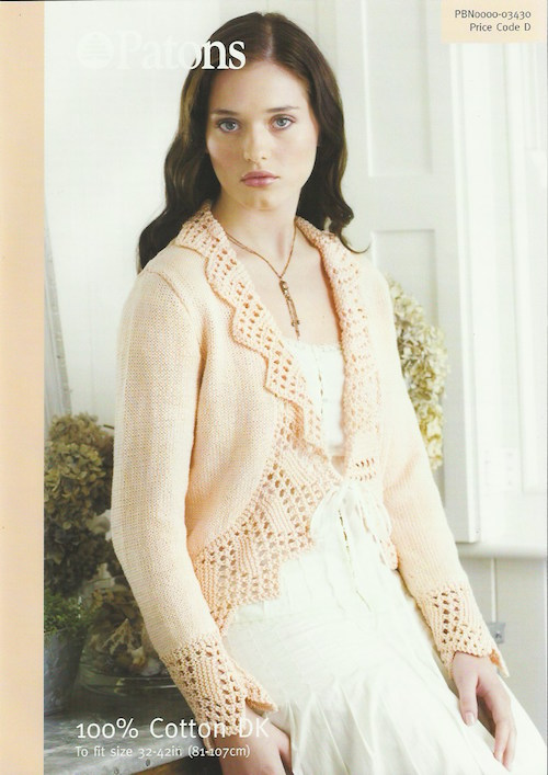 Patons 03430 Lace Trim Cardigan