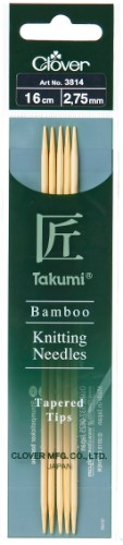 Clover Takumi Bamboo Double Pointed Needle 16cm x 2.75mm