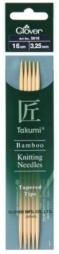 Clover Takumi Bamboo Double Pointed Needle 16cm x 3.25mm