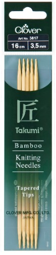 Clover Takumi Bamboo Double Pointed Needle 16cm x 3.50mm