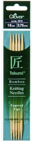 Clover Takumi Bamboo Double Pointed Needle 16cm x 3.75mm
