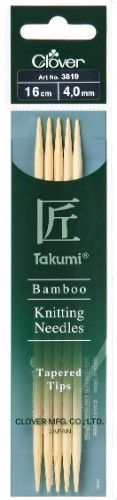 Clover Takumi Bamboo Double Pointed Needle 16cm x 4.00mm