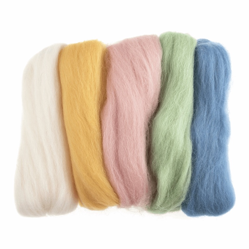 Trimits Natural Wool Roving Assorted - Pastel