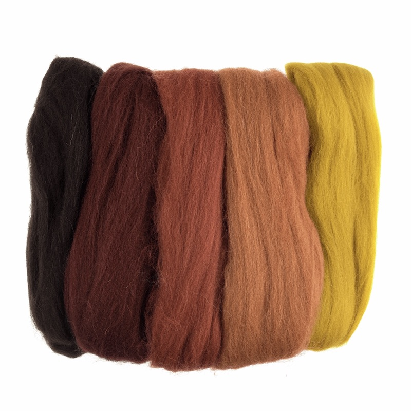 Trimits Natural Wool Roving Assorted - Autumn
