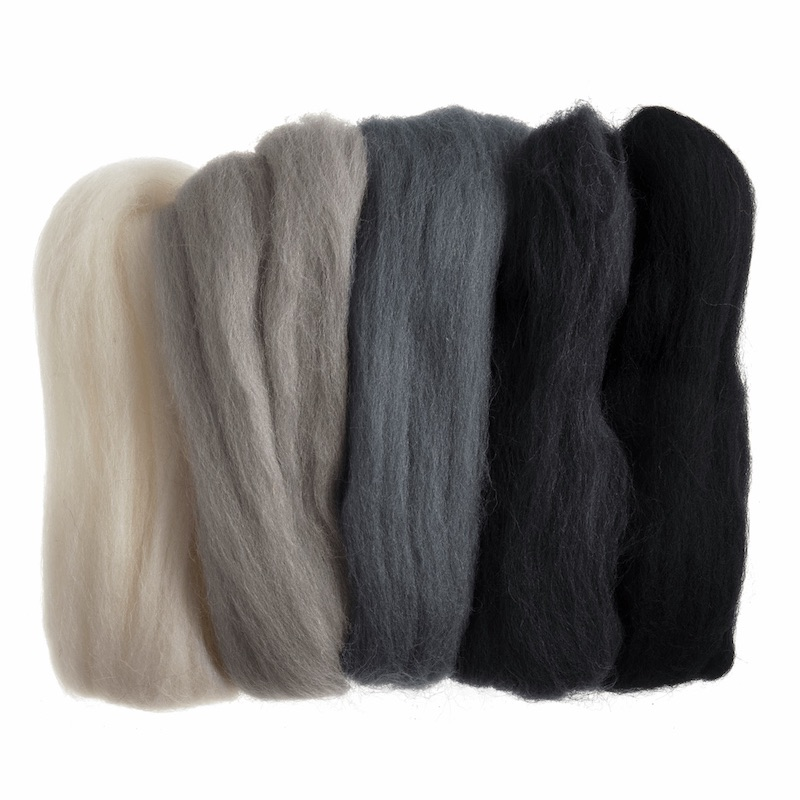 Trimits Natural Wool Roving Assorted - Monocrome