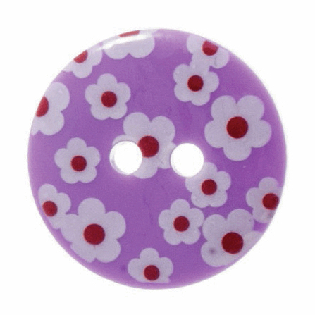 Trimits Printed Flower Button 18mm Purple