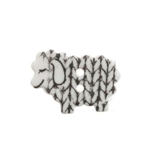 Knitted Sheep Button - white 18mm