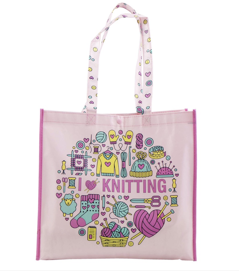 Reusable Tote Bag, I love Knitting (Pink)