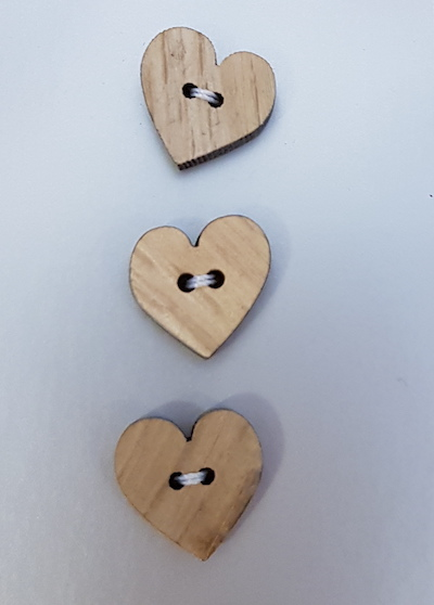 King Cole Carded Buttons 103 Wooden Heart