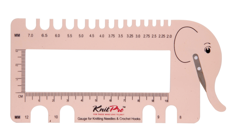 Knit Pro Needle & Crochet View Gauge with Yarn Cutter, Blush