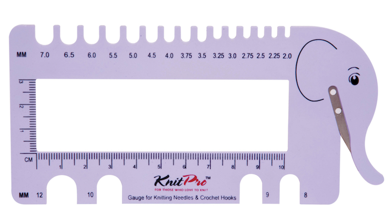 Knit Pro Knitting Needle & Crochet Gauge with Yarn Cutter, Lilac