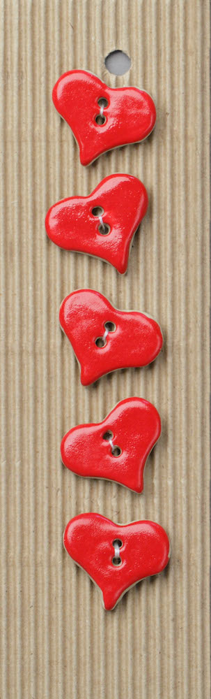 Incomparable Buttons L195 Red Hearts x 5