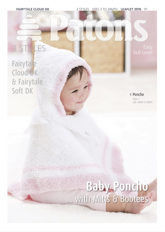 Patons 3976 Poncho with Mitts & Bootees