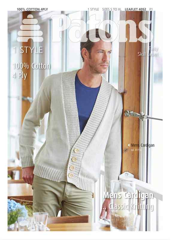 Patons 4052 Mens Cardigan, 4ply