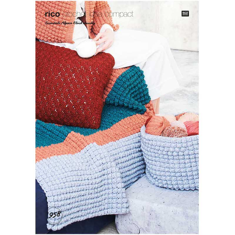 Rico Essential Alpaca Blend Chunky 958 Blanket, Cushion & Basket