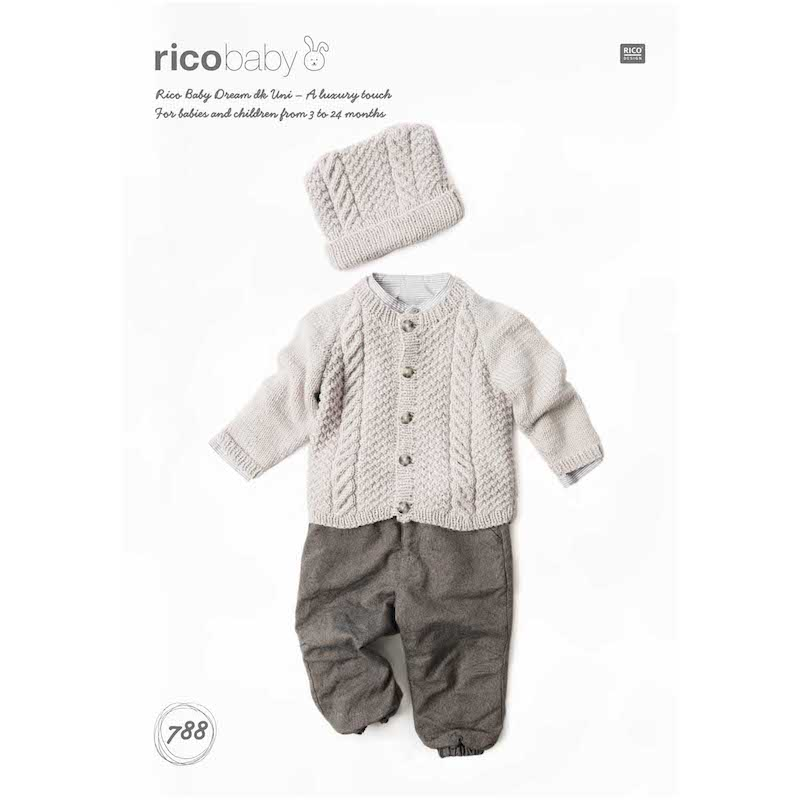 Rico Baby Dream Uni DK 788 Cardigan and Hat